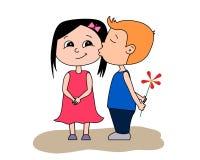 Giorno del `s del biglietto di S Baciare della ragazza e del ragazzo illustrazione di stock