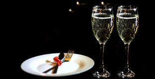 Giorno del `s del biglietto di S Concetto romantico della cena fotografia stock