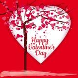Giorno del ` s del biglietto di S. Valentino, albero dei cuori rosa, cartolina d'auguri, fondo, cuori rossi, chiarore, vettore, i illustrazione di stock