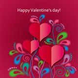 Giorno del ` s del biglietto di S. Valentino della cartolina d'auguri con i cuori e l'ornamento floreale Immagine Stock Libera da Diritti