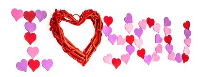Giorno del ` s del biglietto di S. Valentino, il 14 febbraio Iscrizioni circa amore Fotografie Stock