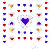 Giorno del `s del biglietto di S Il cuore è il simbolo di amore Struttura decorativa di vettore Fotografia Stock