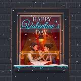 Giorno del `s del biglietto di S Tipo e la ragazza una riunione romantica al ristorante messicano di tema Fotografia Stock