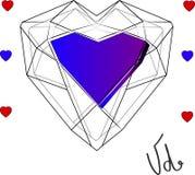 Giorno del `s del biglietto di S Un grande cuore è il simbolo di amore Struttura decorativa di vettore Immagine Stock