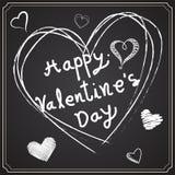 Giorno del ` s del biglietto di S. Valentino che attinge la lavagna Fotografia Stock Libera da Diritti