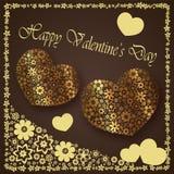 Giorno del ` s del biglietto di S. Valentino - il cuore fiorisce la raccolta Immagini Stock Libere da Diritti