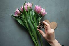 Giorno del ` s delle donne delle mani e dei fiori delle donne Fotografia Stock