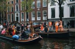 Giorno del ` s di re a Amsterdam, Paesi Bassi Fotografie Stock Libere da Diritti