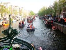 Giorno del ` s di re, precedentemente giorno del ` s della regina, Amsterdam, Olanda, Paesi Bassi Fotografia Stock