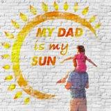Giorno del `s del padre Un messaggio di amore sulla parete fotografie stock
