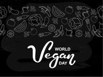 Giorno del vegano del mondo Festa internazionale di novembre Tipografia disegnata a mano dell'iscrizione isolata immagini stock libere da diritti