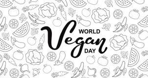 Giorno del vegano del mondo Festa internazionale di novembre Tipografia disegnata a mano dell'iscrizione isolata fotografie stock libere da diritti