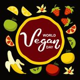 Giorno del vegano del mondo Festa internazionale di novembre Tipografia disegnata a mano dell'iscrizione isolata fotografia stock