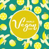 Giorno del vegano del mondo Festa internazionale di novembre Tipografia disegnata a mano dell'iscrizione isolata fotografia stock libera da diritti