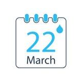 Giorno dell'acqua del mondo con il calendario illustrazione di stock