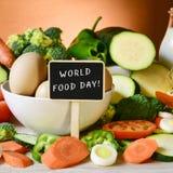 Giorno dell'alimento del testo e dell'alimento fotografie stock libere da diritti