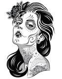Giorno dell'illustrazione in bianco e nero della ragazza morta Fotografia Stock
