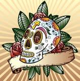 Giorno dell'illustrazione guasto di vettore del cranio di festival Fotografia Stock Libera da Diritti