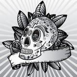 Giorno dell'illustrazione guasto di vettore del cranio di festival Fotografie Stock Libere da Diritti