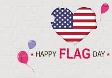 Giorno della bandiera felice di U.S.A. Simbolo americano del cuore Immagini Stock Libere da Diritti