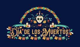 Giorno della cartolina d'auguri morta di lingua spagnola illustrazione vettoriale