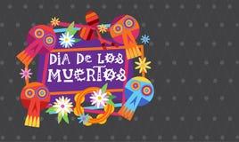 Giorno della decorazione tradizionale morta di Halloween Dia De Los Muertos Holiday Party del messicano royalty illustrazione gratis