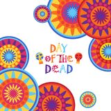 Giorno della decorazione tradizionale morta di Halloween Dia De Los Muertos Holiday Party del messicano illustrazione di stock