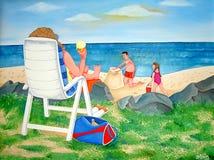 Giorno della famiglia alla spiaggia Fotografia Stock