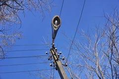 Giorno della lanterna della città Riga di energia elettrica Cielo blu Fotografia Stock