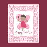 Giorno della madre felice Selebration Scheda di giorno della madre Cartolina d'auguri, fatati di volo Rosa del fatato Fotografia Stock