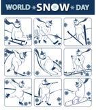Giorno della neve del mondo L'orso gioca gli sport invernali icone Immagini Stock