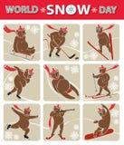 Giorno della neve del mondo L'orso gioca gli sport invernali Insieme dell'icona Fotografia Stock Libera da Diritti