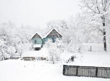 Giorno della neve nella campagna Fotografia Stock