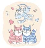 Giorno della st Valentine's dei gatti Fotografia Stock Libera da Diritti