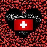Giorno della Svizzera di indipendenza, 1 August Swiss National Day illustrazione di stock