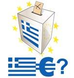 Giorno delle elezioni greco con l'urna Fotografie Stock Libere da Diritti