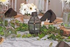 Giorno delle nozze della decorazione del tavolo da pranzo Immagine Stock