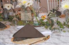 Giorno delle nozze della decorazione del tavolo da pranzo Fotografia Stock Libera da Diritti