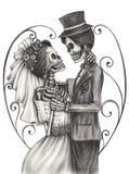 Giorno delle nozze di arte del cranio dei morti illustrazione di stock