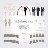 Giorno delle nozze stabilito di vettore Infographic royalty illustrazione gratis