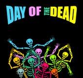 Giorno dello scheletro multicolore morto Cranio di colore Backgro morto Immagini Stock Libere da Diritti