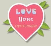 Giorno di ambiente di mondo Autoadesivi rosa del cuore, emblemi, logo Cuore rosa con le foglie illustrazione di stock
