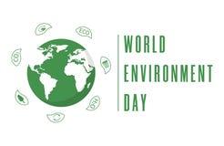 Giorno di ambiente di mondo Globo della terra con le foglie Manifesto o insegna creativo Pianeta di ecologia Progettazione amiche illustrazione di stock