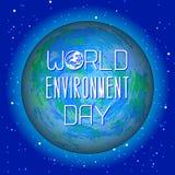 Giorno di ambiente di mondo Pianeta Terra come fondo per testo Fotografia Stock Libera da Diritti