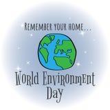 Giorno di ambiente di mondo Progettazione di massima per l'insegna, cartolina d'auguri, Fotografia Stock
