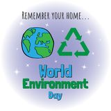 Giorno di ambiente di mondo Progettazione di massima per l'insegna, cartolina d'auguri, Immagini Stock