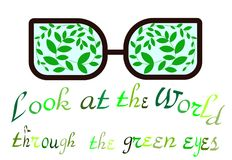 Giorno di ambiente di mondo uno sguardo al mondo attraverso gli occhi verdi Emblema ecologico Stampe per le magliette Coscienza d Immagini Stock
