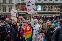 Giorno di Anti-Trump e marzo del ` s della donna Immagini Stock