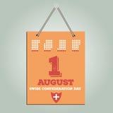 1 giorno di August Swiss Vettore di riserva calendario Fotografie Stock Libere da Diritti