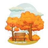 Giorno di autunno in parco, alberi con le foglie cadenti, cespugli e nuvole illustrazione di stock